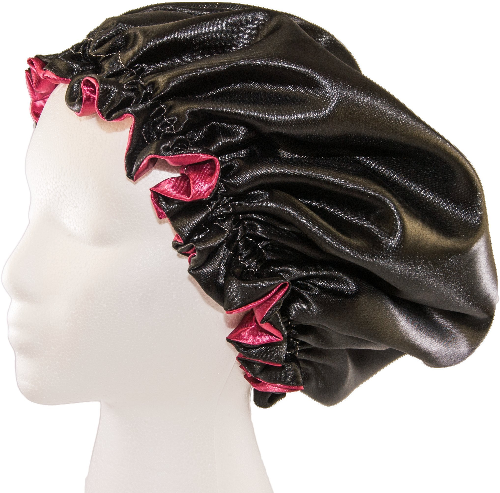 (X-Large, BURGUNDY) New 24'' Handmade Fully Reversible - High Quality Luxuries Pure Satin Hair Bonnet Safe For All Hair Types - Most Beneficial Hair care Product Available - Royal Bonnet by Royal Sensations Satin Bonnet