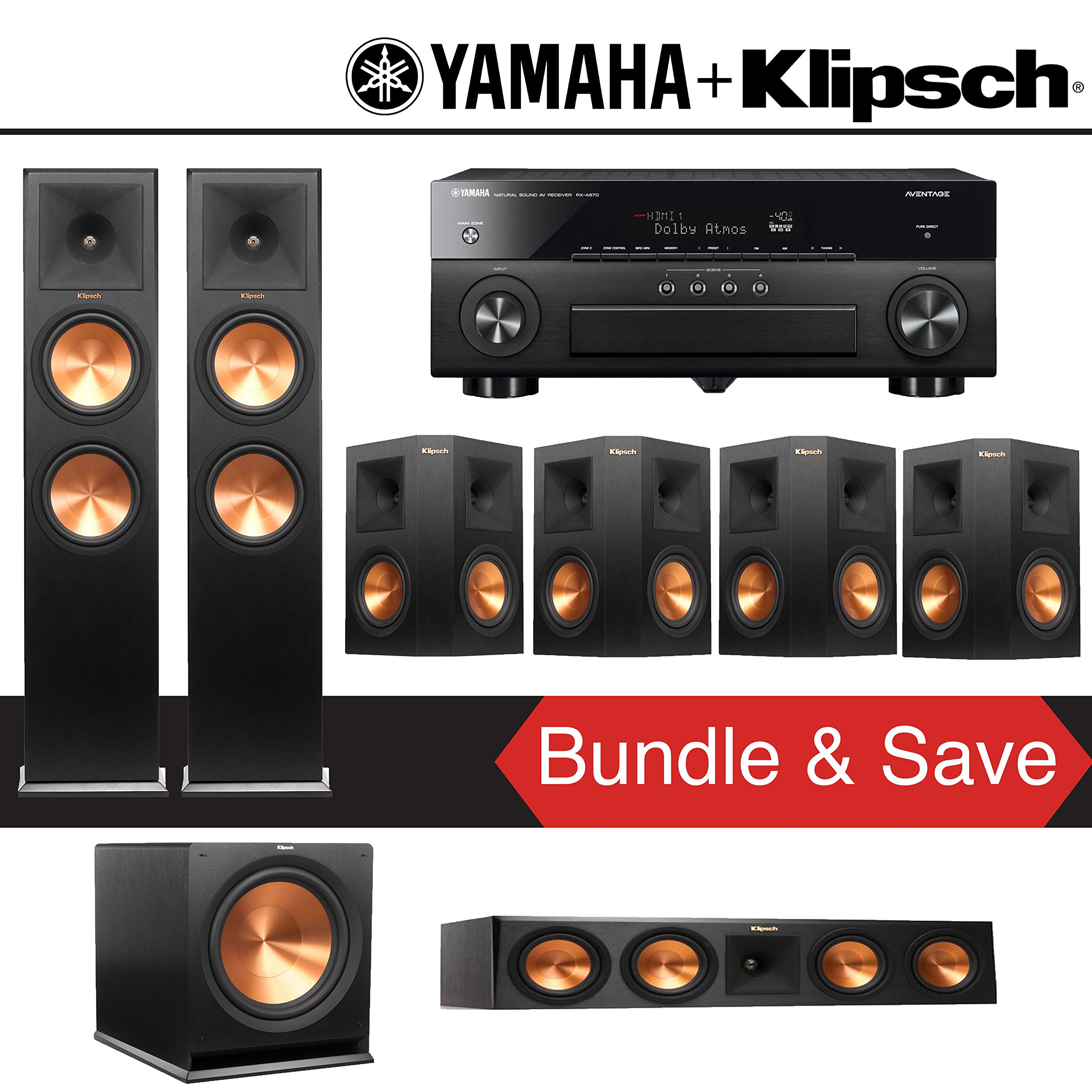 Klipsch RP-280F 7.1-Ch Reference Premiere Home Theater System with Yamaha AVENTAGE RX-A870BL 7.2-Channel Network AV Receiver