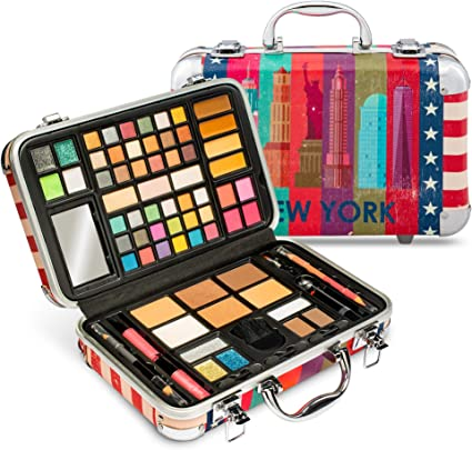 Vokai Kit de maquillaje Set de regalo – Estuche de viaje de Nueva York 41 sombras de