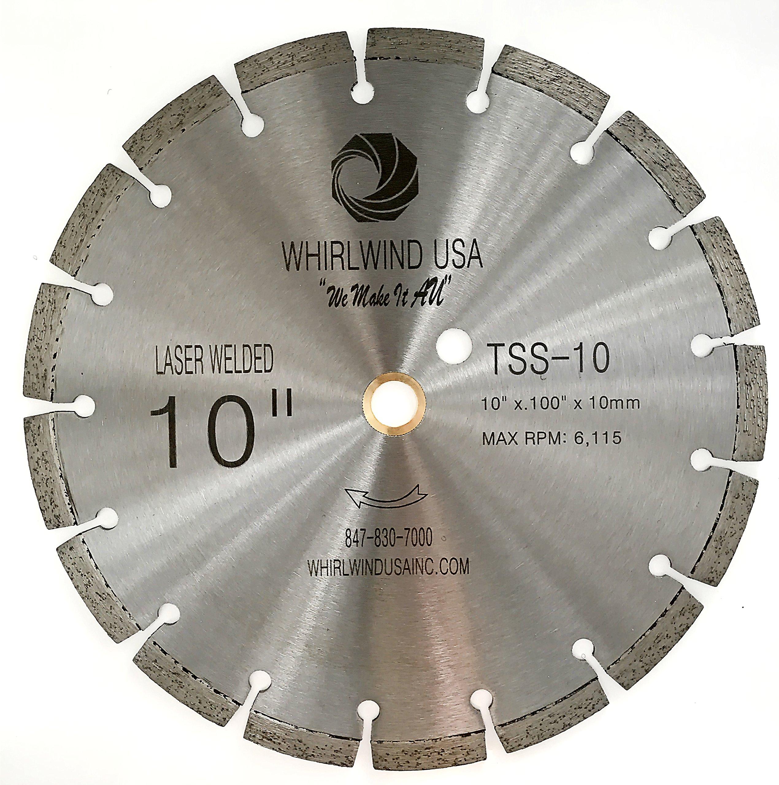 Disco de Diamante WHIRLWIND segmentadas estándar de uso general secas o húmedas soldadas con láser TSS de 10 pulg. (vent