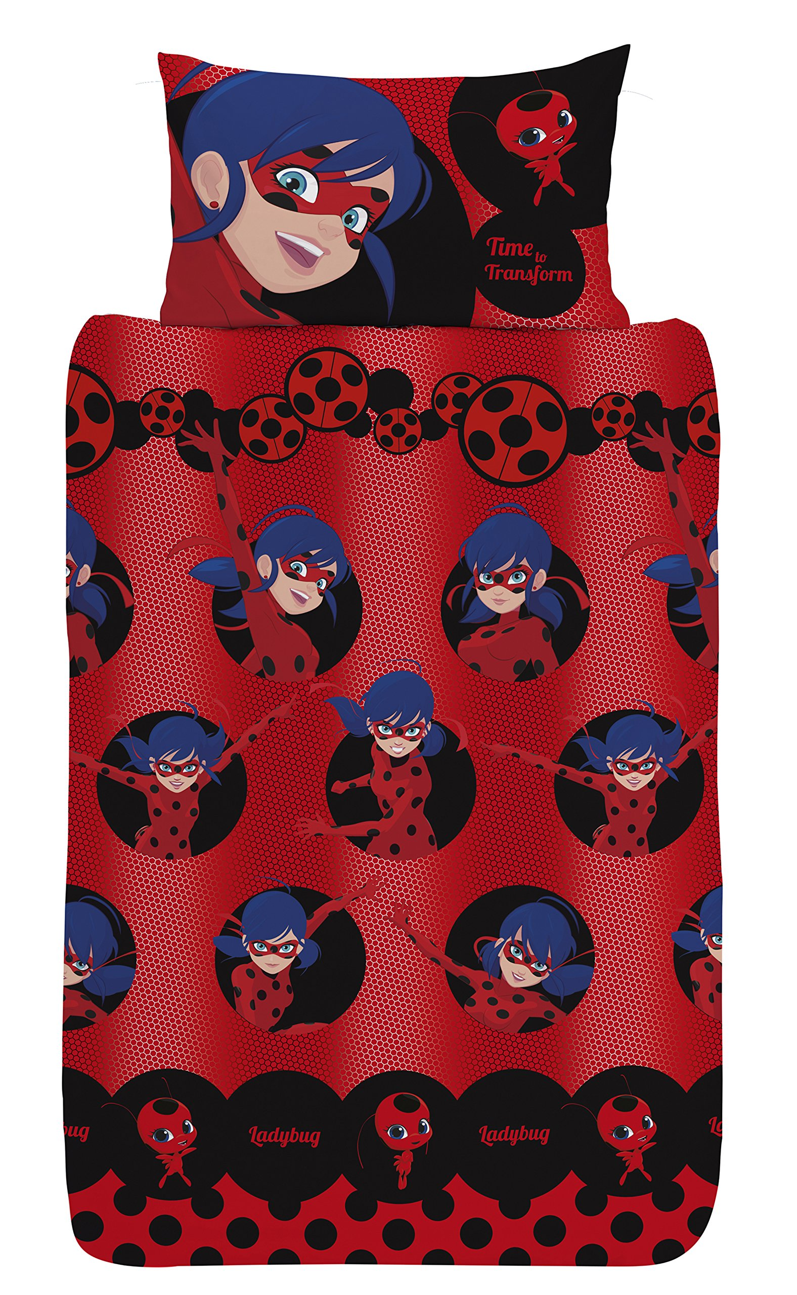 Miraculous Lady Bug Girl Single Red Duvet Cover Set + Pillowcase