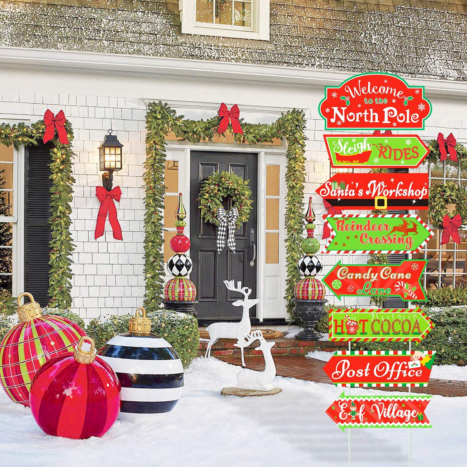 Huray Rayho Party North Pole Street Yard Sign Cutouts with Stakes for Christmas Holiday Lawn Yard Outdoor Decorations Xmas Holiday Winter Decorations Outdoor Set of 8