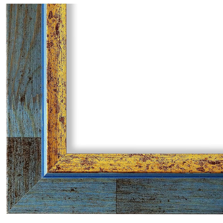 Online Galerie Bingold Bilderrahmen Blau Gold 40x50-40 x 50 cm - Modern, Shabby, Vintage - Alle Größen - Handgefertigt - in Deutschland - WRU - Catanzaro 3,9