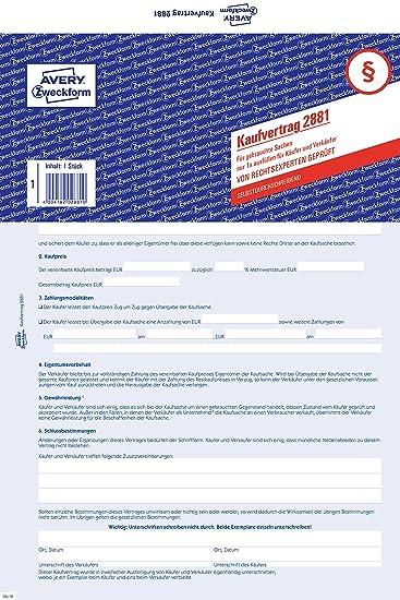 Kaufvertrag Allgemein A4 2 Fach Sd 1 Stück Amazonde Bürobedarf