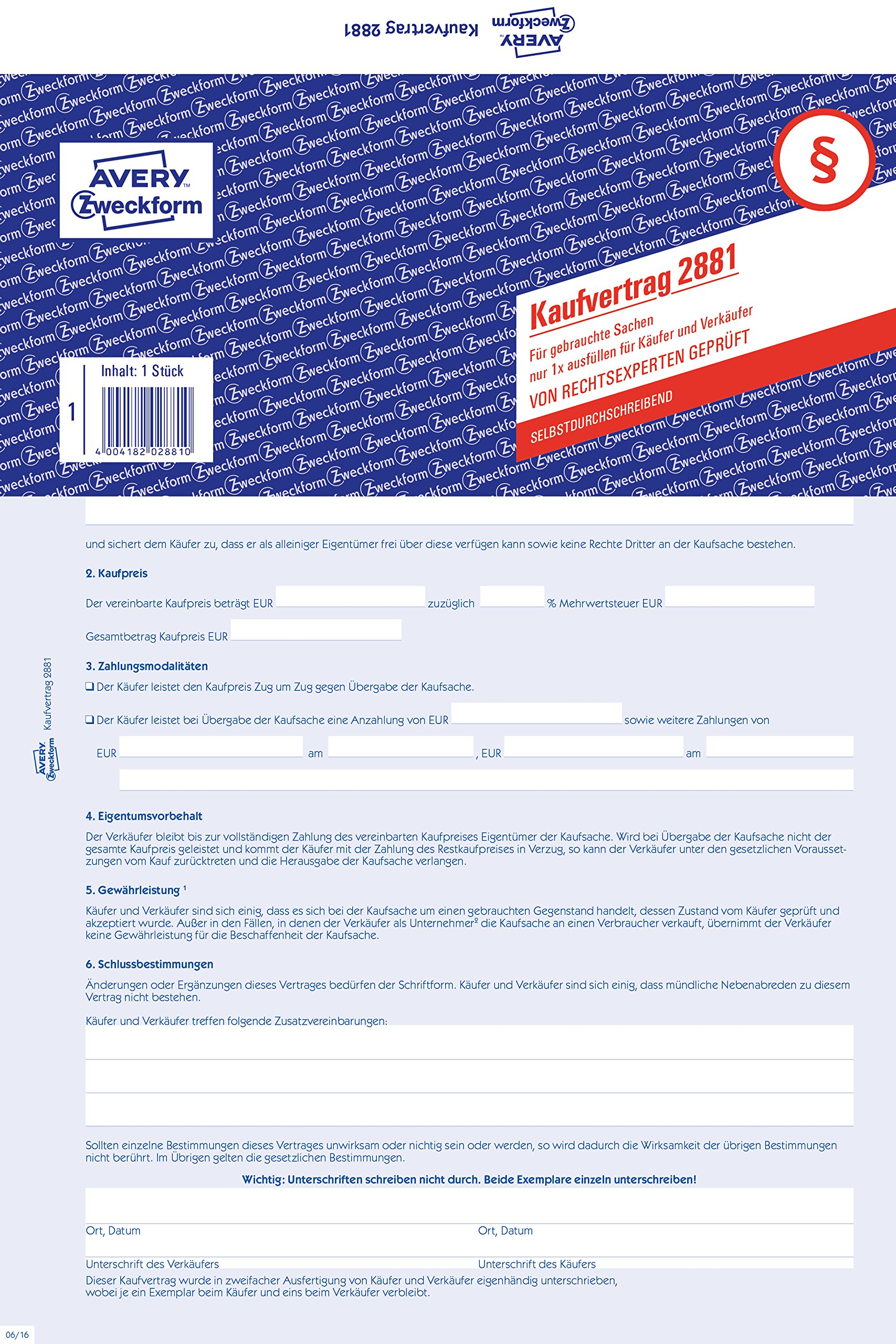 Avery Zweckform 2881Contract for Dirty Things (A4Self Copying Pack of 5)