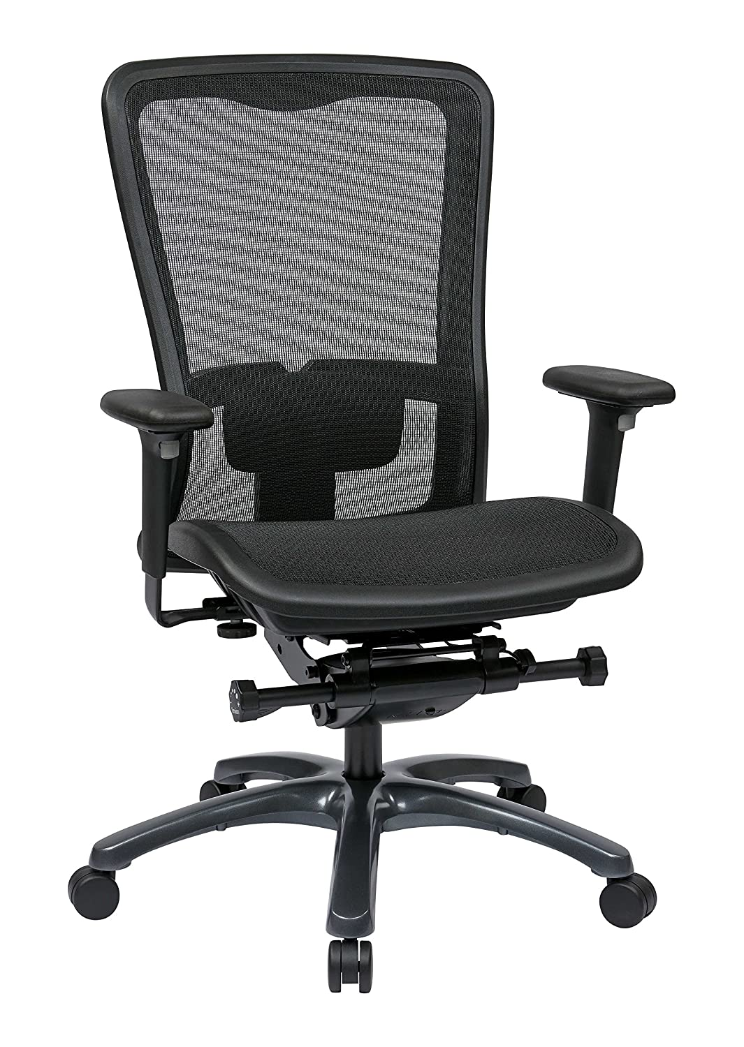 Amazon.com: Office Star High Back Breathable ProGrid Back And Seat  Adjustable Black Managers Chair, Gunmetal Finish: Kitchen U0026 Dining