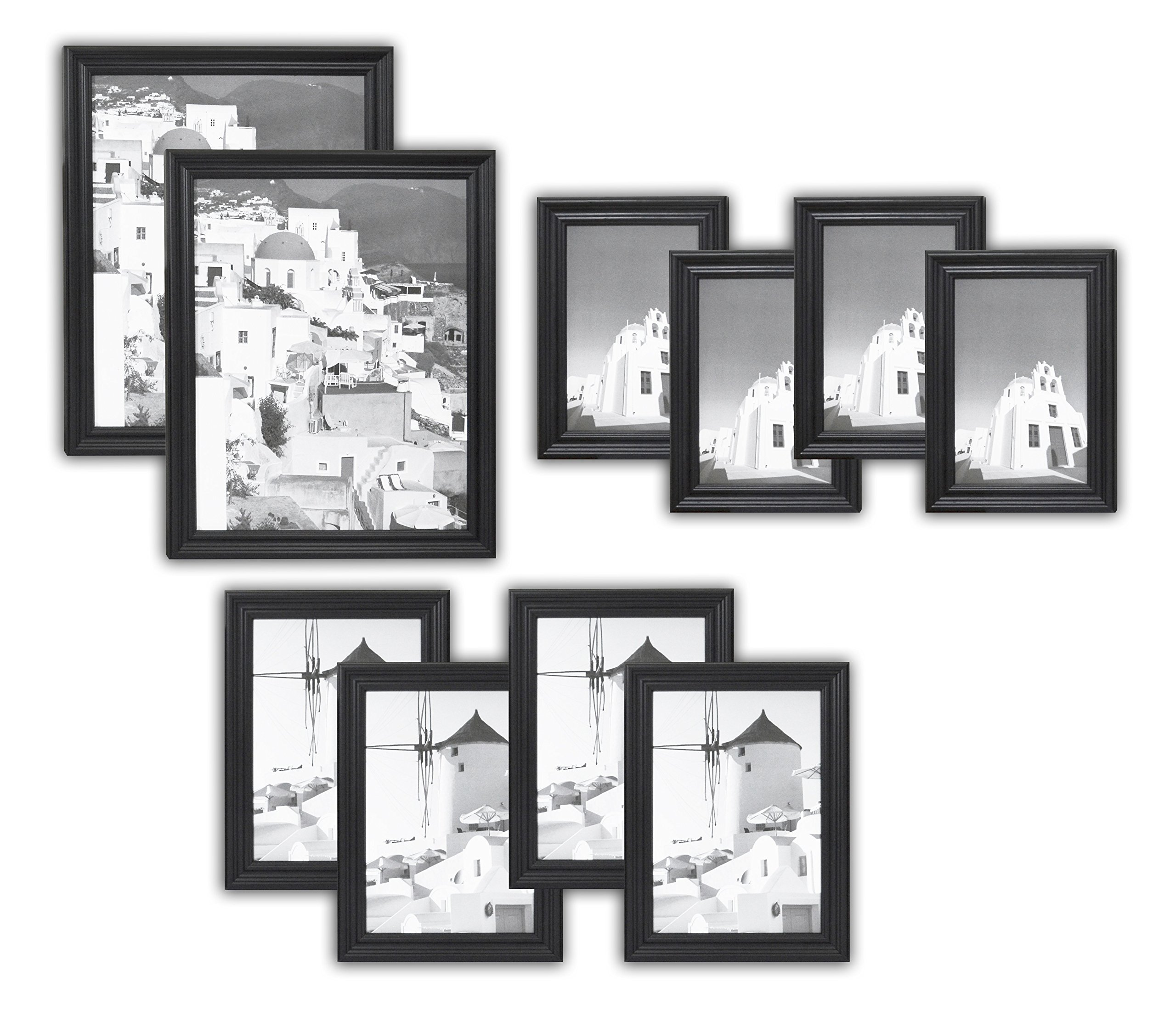 Golden State Art, Wall Frame Collection, Set of 10, Solid Wood Photo Frame, Black by Golden State Art