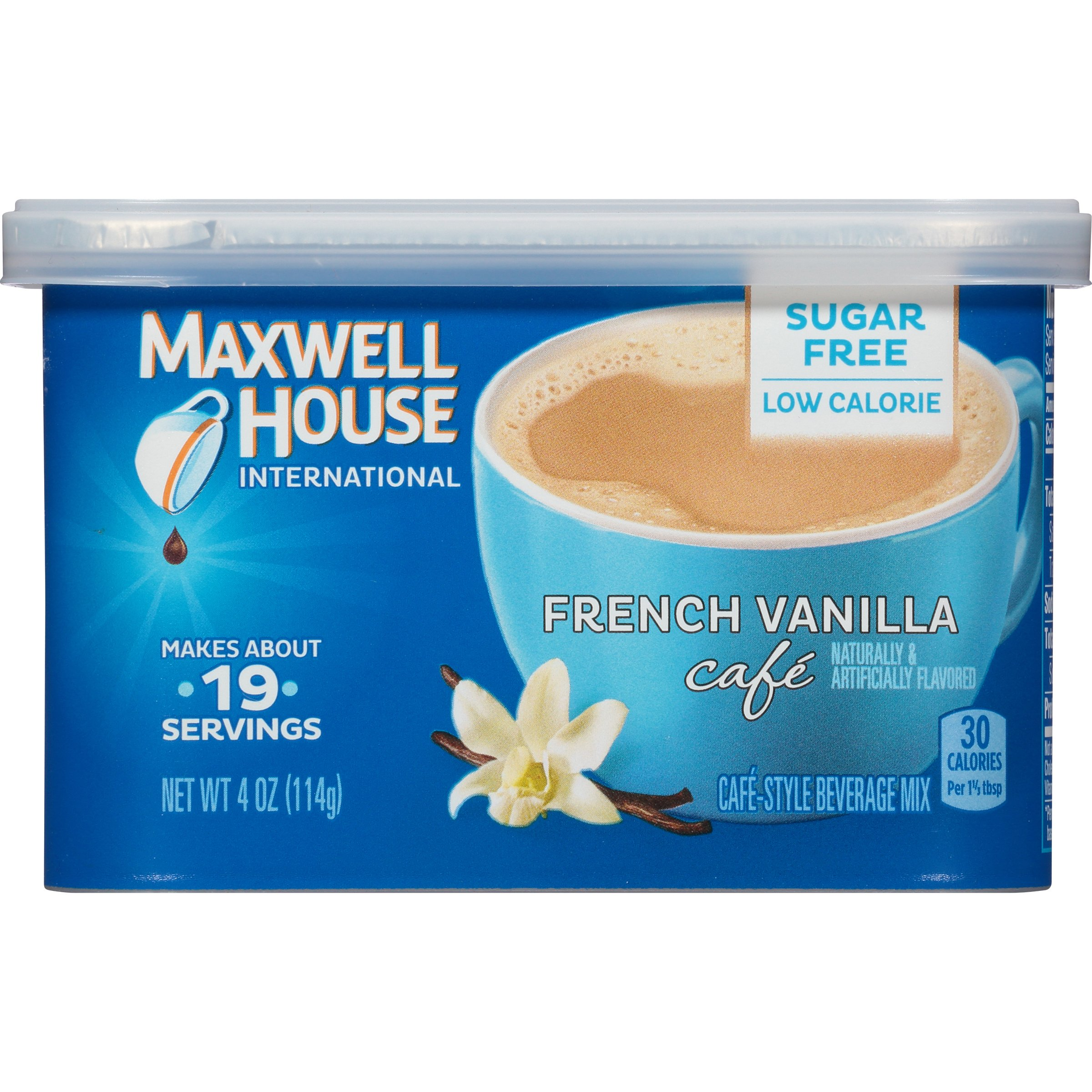 Maxwell House International Cafe Flavored Instant Coffee, French Vanilla, Sugar Free, 4 Ounce Canister (Pack of 4)
