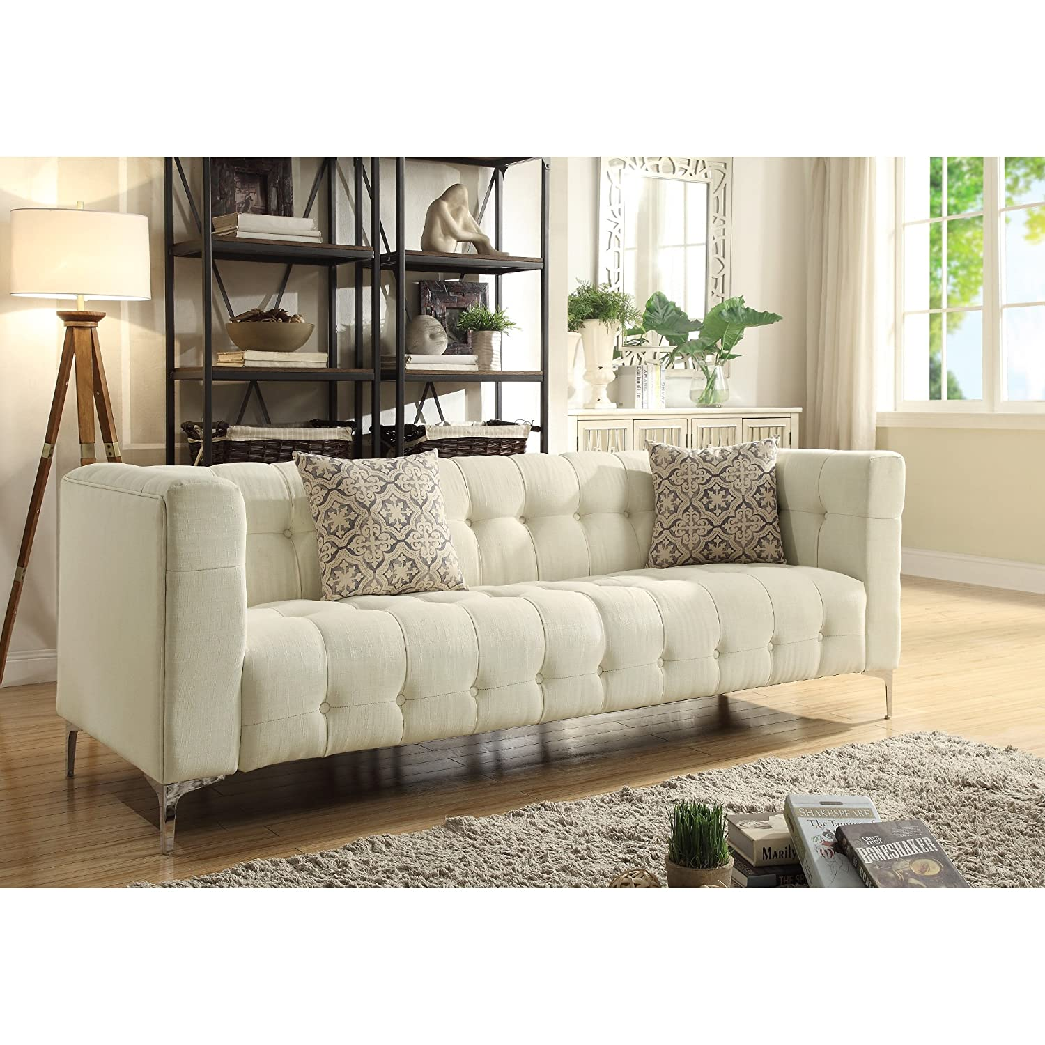 Amazon com inspired home vincent linen modern contemporary button tufted metal y leg sofa sand kitchen dining