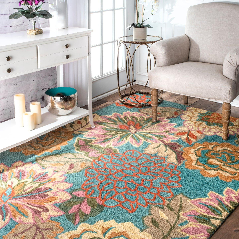 nuLOOM 200MJSM11A-2608 Handmade Bold Floral Blue Wool Runner Rug (2-Feet 6 X 8-Feet)