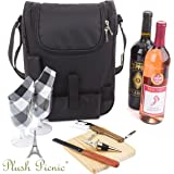 Insulated Travel Wine Tote Bag: Portable 2 Bottle Wine and Cheese Waterproof Black Canvas Carrier Bag Set with Picnic Backpack Kit - Wine Opener, Wine Stopper, Wooden Cheese Board and Knife Included