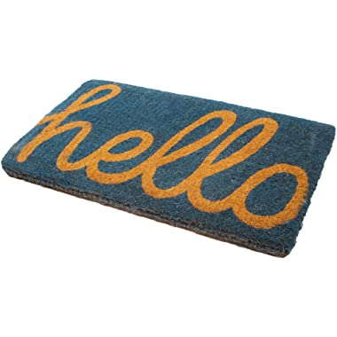 Handwoven, Extra Thick Doormat   Entryway Door mat for Patio, Front Door   Decorative All-Season   Cursive Hello   18  x 30  x 1.60