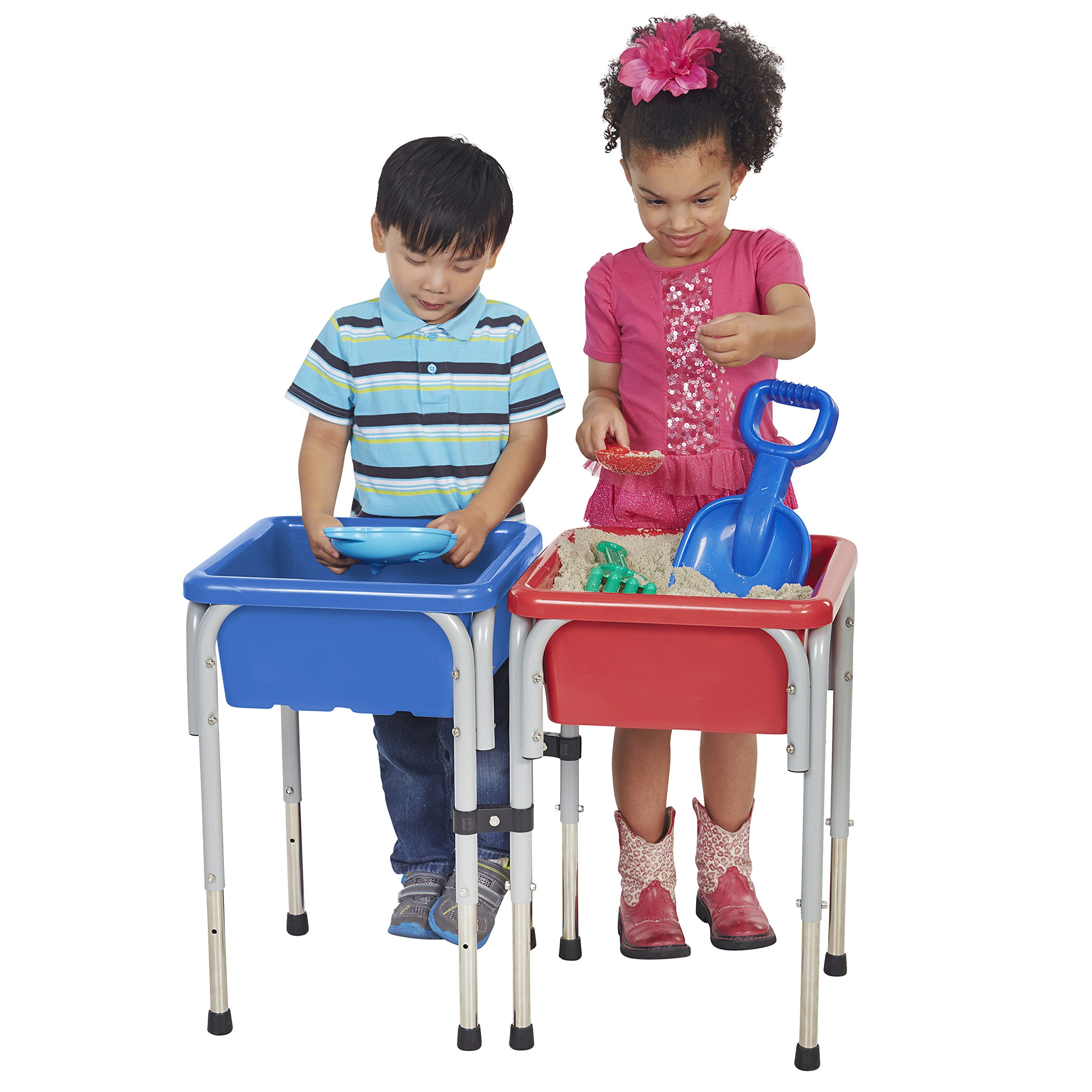 ECR4Kids ELR-12401  Assorted Colors Sand and Water Adjustable Activity Play Table Center with Lids, Square (2-Station) by ECR4Kids