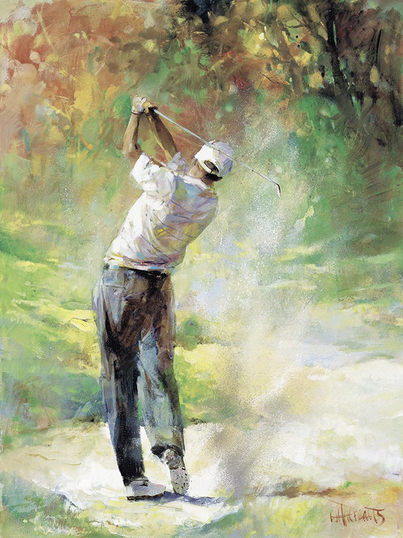 Artland Qualitätsbilder I Bild auf Leinwand Leinwandbilder Wandbilder 60 x 80 cm Sport Ballsport Golf Malerei Grün B8XP Ein Perfekter Tag