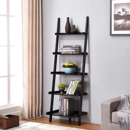 Black Finish 5 Tier Bookcase Shelf Ladder Leaning