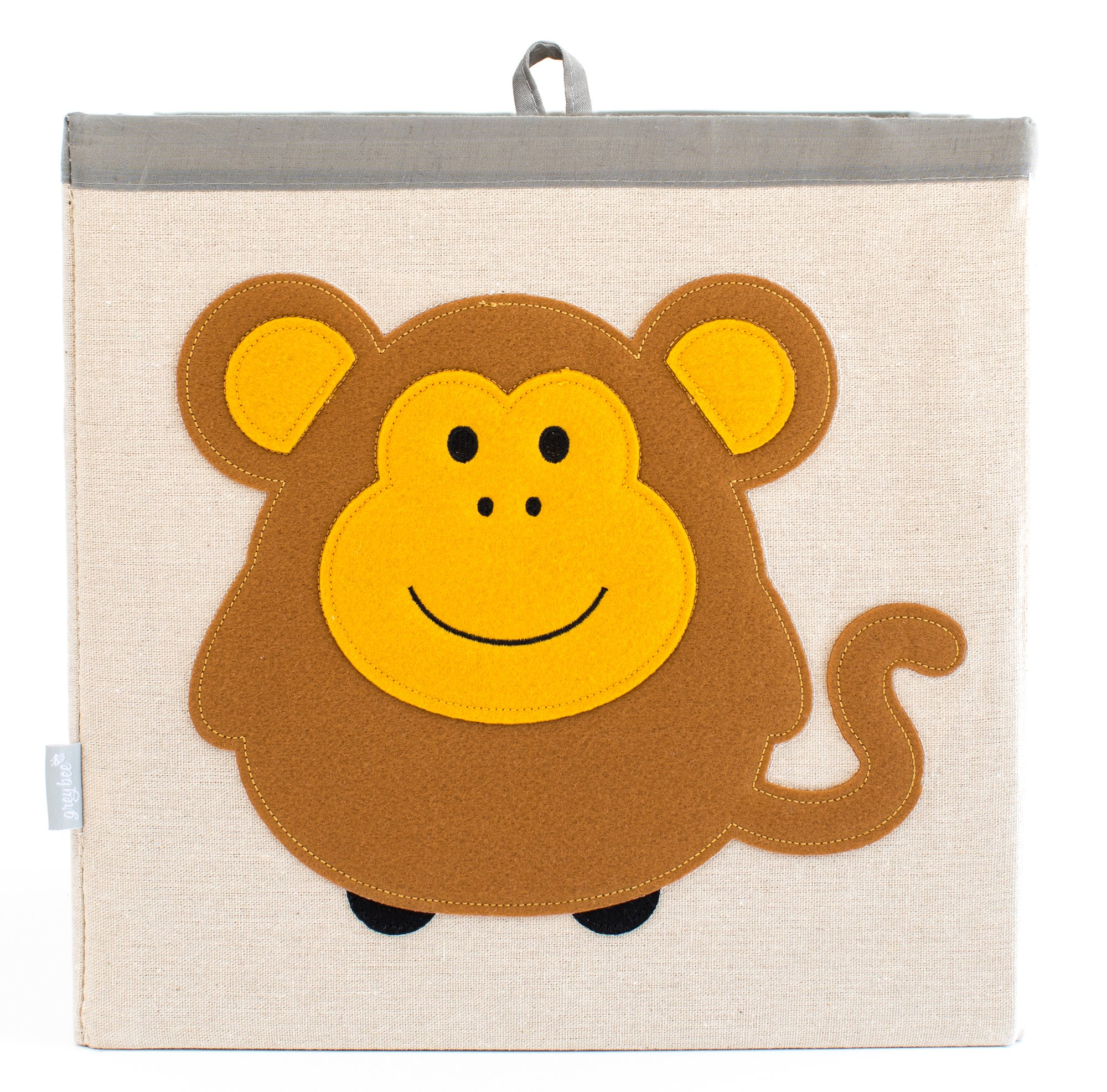 Large Collapsible Cube Storage Bin :: 100% Jute Canvas Toy Basket for Baby Items, Kids' Clothes & Much More, 13'' x 13'' Square, with Adorable Felt Animal Design, Monkey, Brown by Grey Bee by Grey Bee (Image #1)