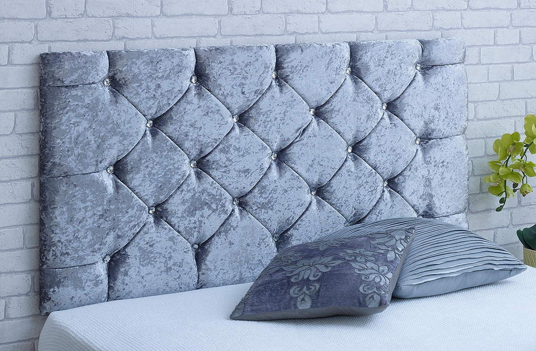 BOX Crushed Velvet Diamontte Divan Headboard 2ft6,3ft,4ft,4ft6,5ft Silver Black