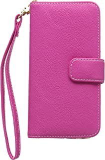 product image for QUBITS Textured Lily Floral Textile Interior PU Leather Wallet Case with Card Slots, Cash Compartment and Detachable Wrist Strap for Samsung Galaxy S6 Edge - Hot Pink