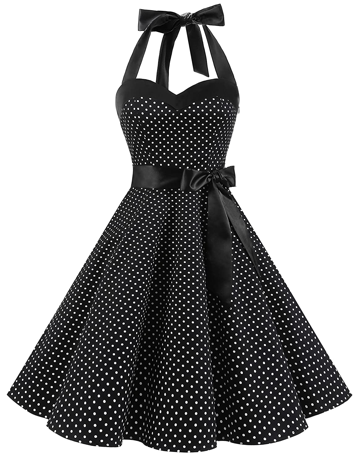 TALLA 3XL. Dresstells® Halter 50s Rockabilly Polka Dots Audrey Dress Retro Cocktail Dress Black Small White Dot 3XL