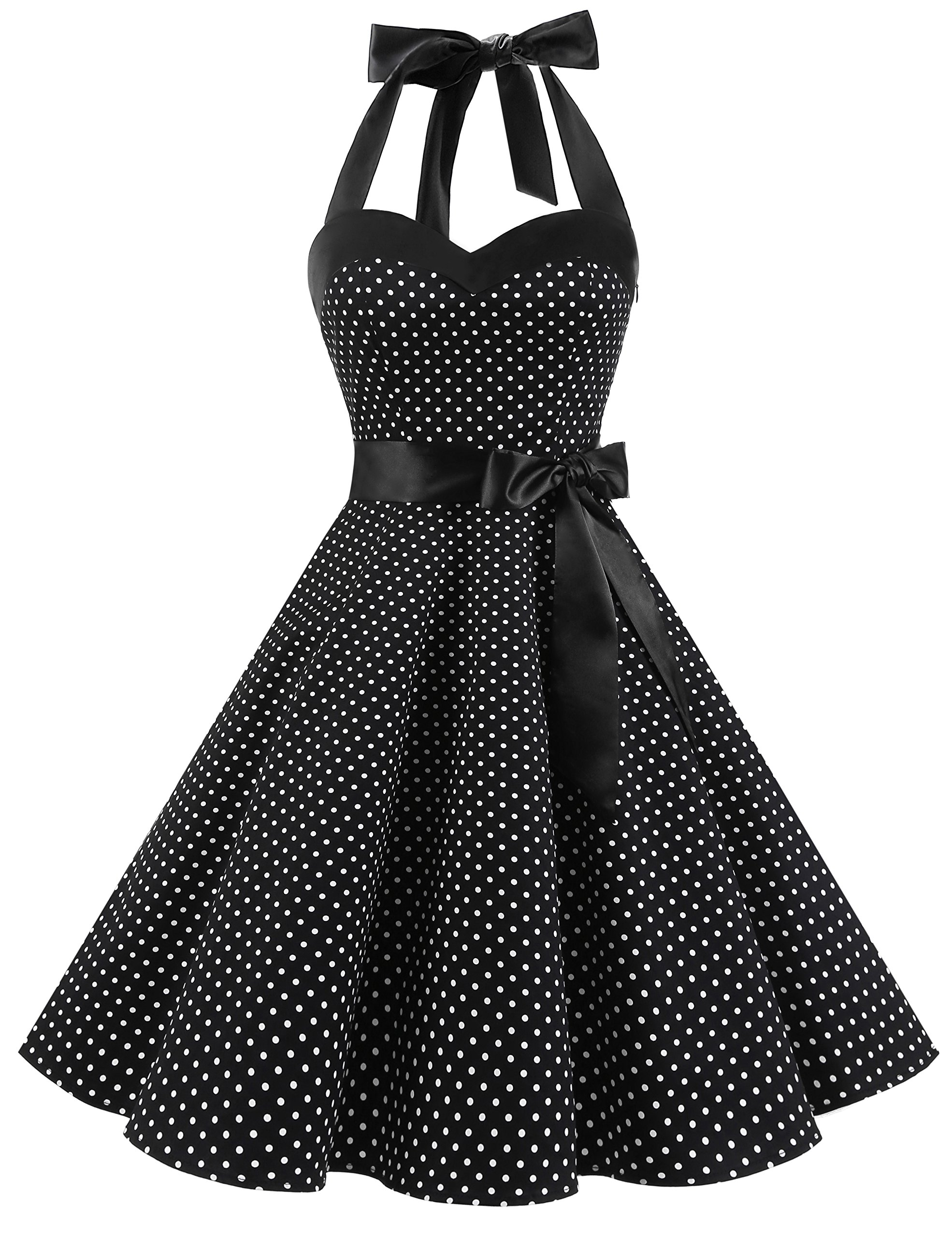 Dresstells Donne 1950 Audrey Hepbun Vintage con Allacciatura al Collo di  Polka Dots Cocktail Vestito product 0b132406623