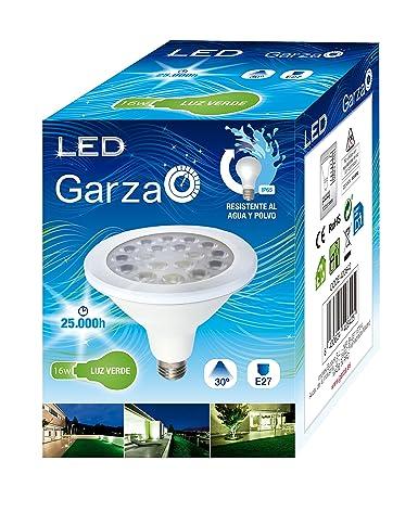 Garza Bombilla Led Reflectora de Luz Verde E27, 16 W, Azul