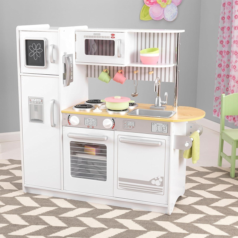 KidKraft 53364 Uptown White Play Kitchen. Wooden kids play kitchen ...