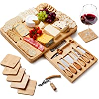 Extra Large Bamboo Cheese Board - Wooden Charcuterie Board - Serving Platter Tray and Knife Set - Housewarming Gifts for…