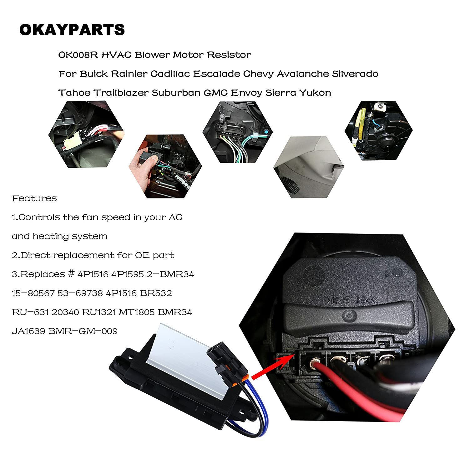 Okayparts Ok008r Upgraded Design Heating And Air Hvac System Consists Of Blower Motor Switch Conditioning Resistor Module Replaces 4p1516 Mt1805 Ru 631 Ja1639 Bmr34 4p1595