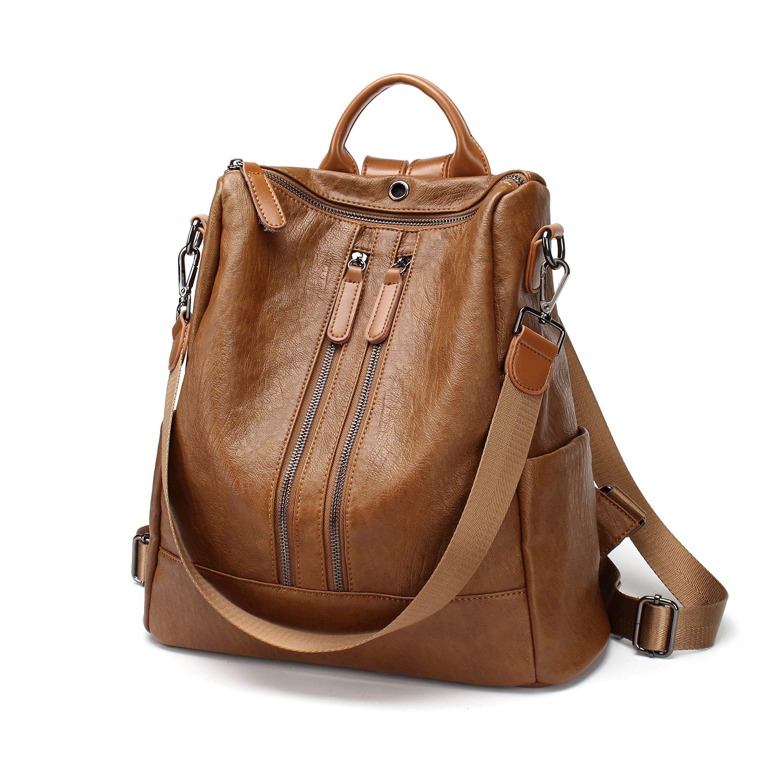 FIGROL Women Backpack Purse Soft PU Leather Casual Travel Bag Multi-Functional Waterproof Backpack with Headset Datecable Port(Brown)