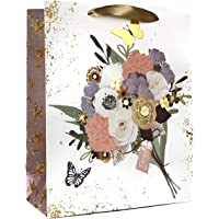 4 PC Paper Gift Bag (Mix Design, Floral Collection, Gold Gloss) - 210 GSM Kraft Paper | Ribbon Handle | 100% Recyclable…