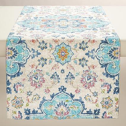 Raghuraj Lifestyle Cotton Lapis Home Decor Table Runner (15x70 inches, White)