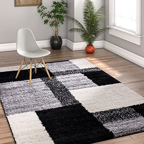 Modern Shag Geometric 5×7 5 x 7 2 Area Rug Cubes Black Cream Plush Shag Blocks Squares Plush Shag Easy Care Thick Soft Plush Living Room