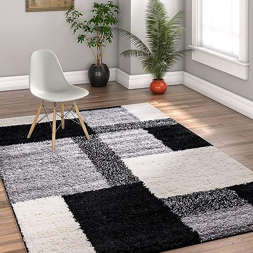 Modern Shag Geometric 3×5 3 3 x 5 3 Area Rug Cubes Black Cream Plush Shag Blocks Squares Plush Shag Easy Care Thick Soft Plush Living Room