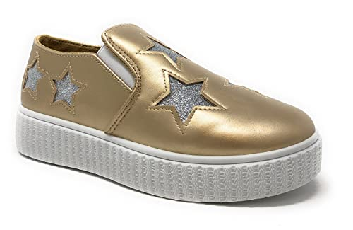 42f9267dfaf Pink Label Women s Slip-On Stylish Fashion Sneaker with Glitter Stars in  Gold Size