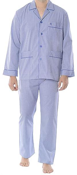 El Búho Nocturno Pijama de Caballero Largo clásico a Cuadros Finos/Ropa de Dormir para