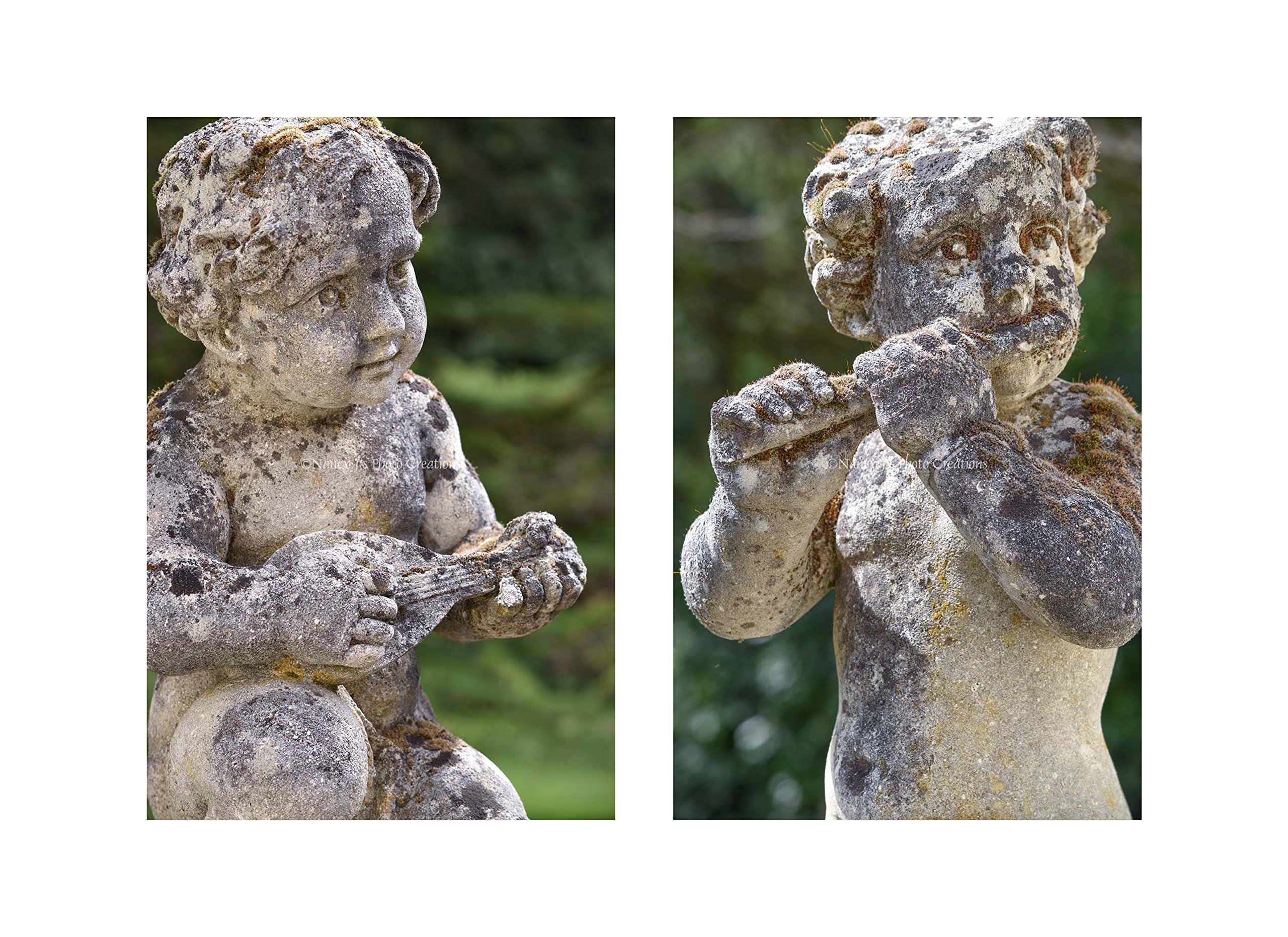 Cherub Sculptures Large Unframed PHOTOGRAPHIC PRINT English Garden Statue Photography Music Diptych Classic Art Edwardian Wall Decor Green Grey Matching Photo Set of Two 16x20 16x24 20x30