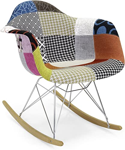 Best Choice Products Living Room Mid-Century Modern Accent Rocking Arm Chair Home Furniture – Patchwork