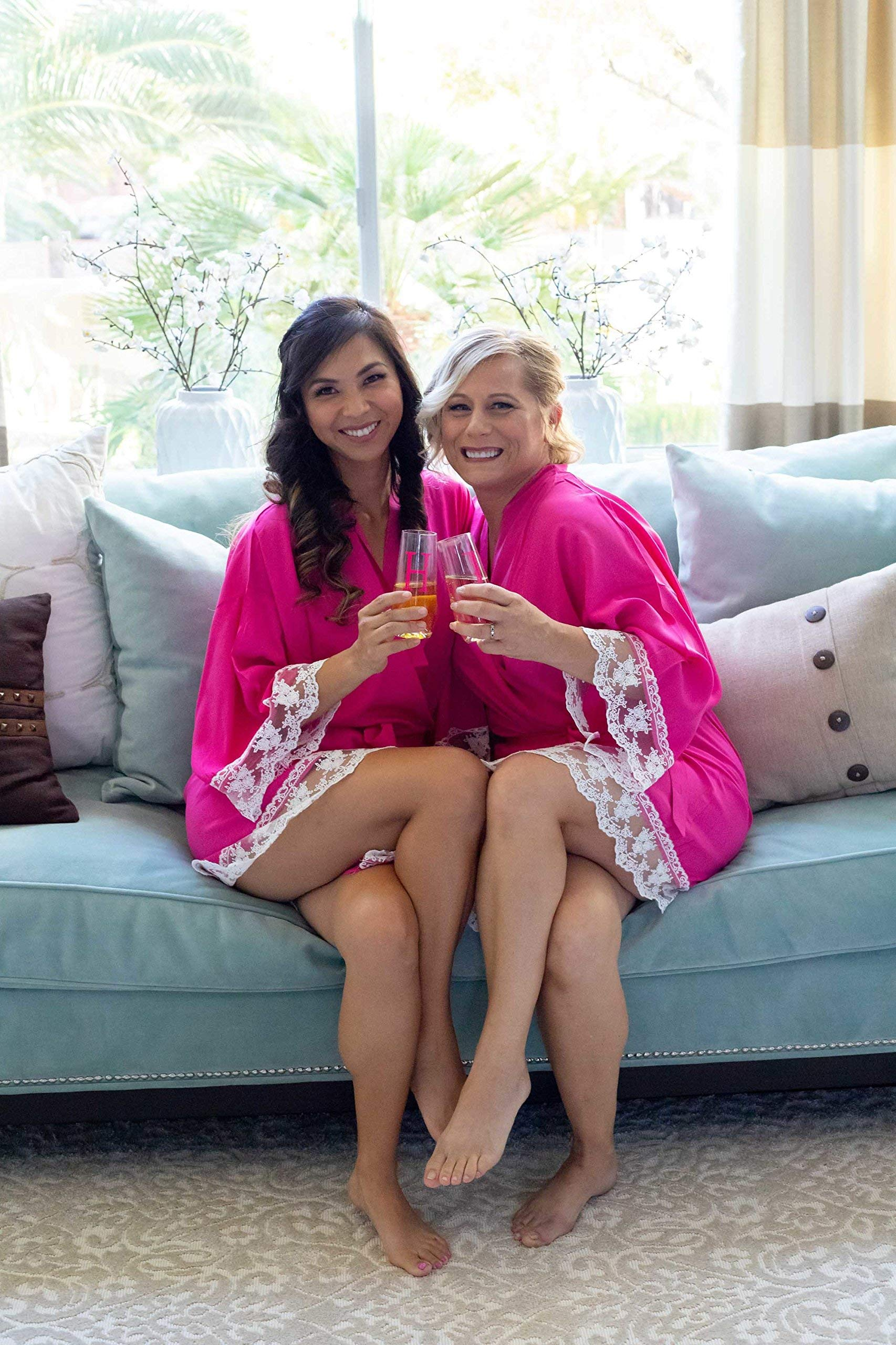 Hot Pink Cotton Bridesmaid Robes With White Lace Trim by Ella Winston