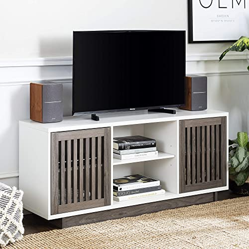 WE Furniture Mid Century Modern Wood Stand for TV s up to 62 Living Room Storage, 56 , White Slate Grey