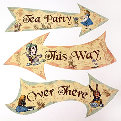 Party Ideas Alice In Wonderland Vintage Style Arrow Signs Mad