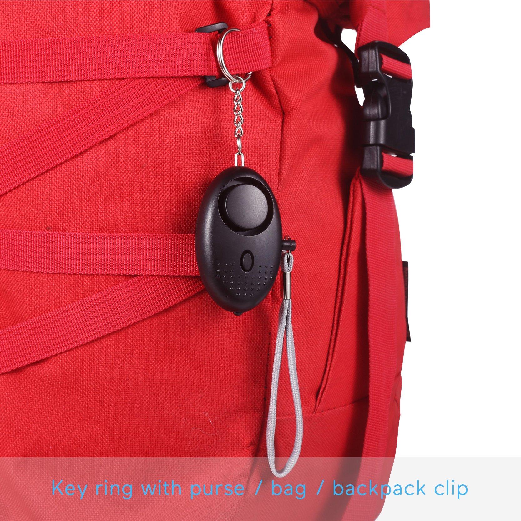 Personal Alarm Keychain for Women, Safe Sound Personal Alarm, Portable Personal Alarm for Girls, 130DB Emergency Self-Defense Security Alarm system w/ LED Light for Outdoor Men Girls Elderly Black