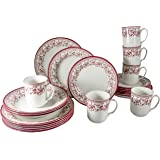 Tudor Royal Collection 24-Piece Premium Quality Porcelain Dinnerware Set, Service for 6 - Aster Pink,See 10 Designs Inside!