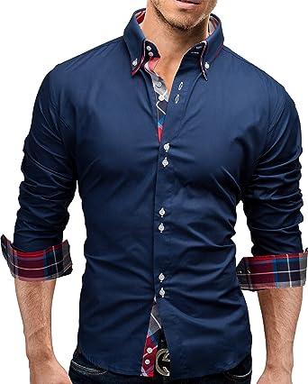 MERISH Camisas para Hombre Casual y Moderno Manga Larga Slim Fit con Cuadros diseño, Modell 207 Azul Oscuro XXL: Amazon.es: Ropa y accesorios