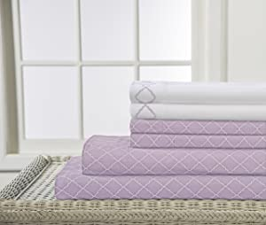 Elite Home Products Inc. 90 GSM Revina Print Embroidered Bonus Sheet Set, Orchid, Queen