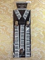 Musical Piano Elastic Adjustable Y-shape Clips-on Suspenders Women Men