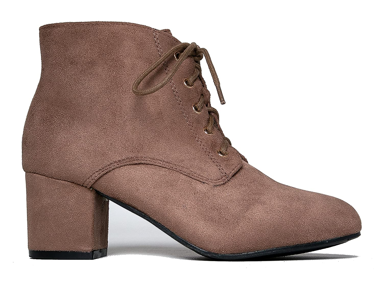 247b28bc480e6 J. Adams Aubrey Ankle Boot - Casual Suede Low Chunky Block Heel Lace Up  Bootie