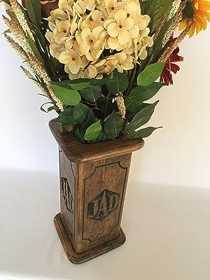 Handmade Personalized Custom Monogram Large wood Vase