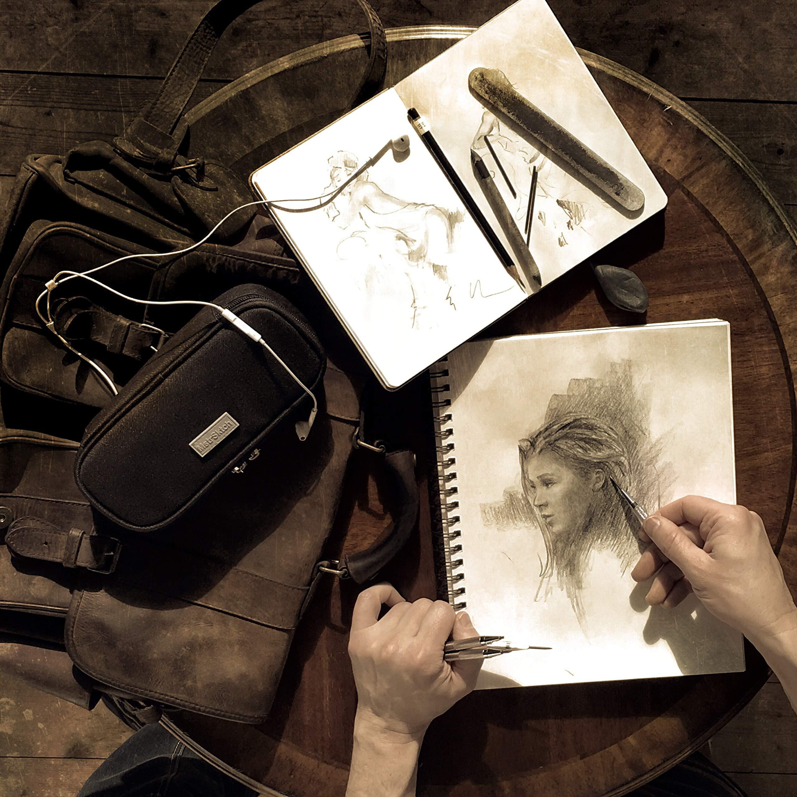 Drawing Mechanical Pencils 9-Piece | Kneaded Eraser | 2 mm Pencil Lead Refills for Artists | Travel Art Set Case | Professional Sketching & Drawing Kit | Metal Pen Barrel by MstrSktch (Image #3)