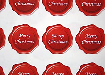 60 Merry Christmas Envelope Seal Stickers - White on Red: Amazon ...