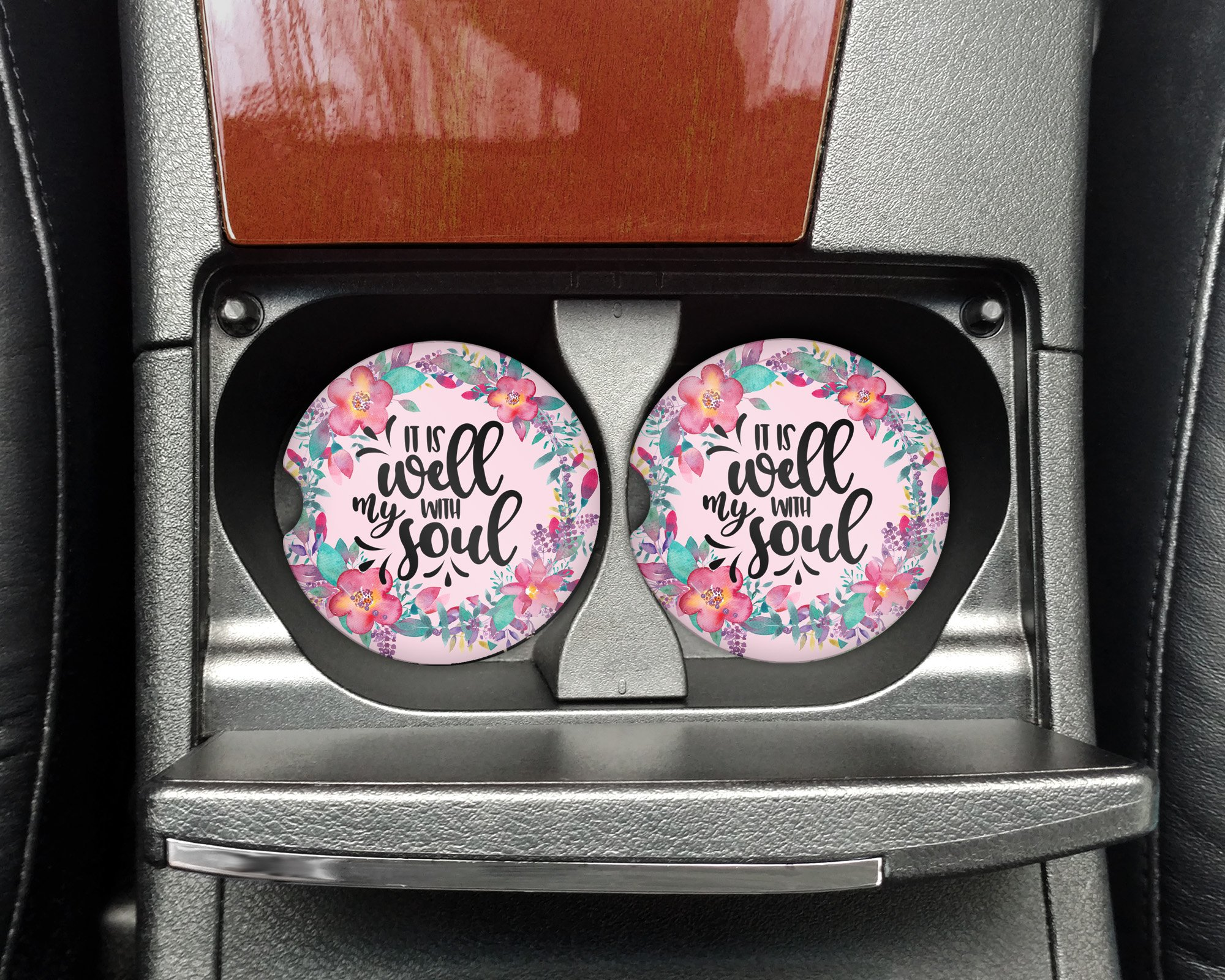 It is well with my soul - Pink floral Car coasters - Sandstone auto cup holder coasters Christian motivational bible verse - Gifts for women